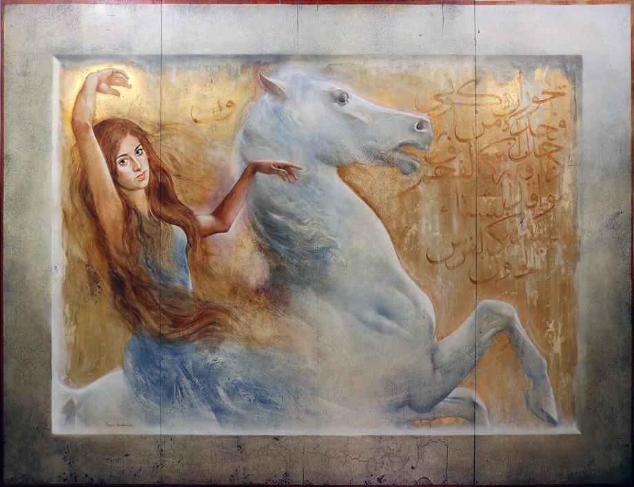 Badawi-Girl on a Horse-wood-150-200-2017