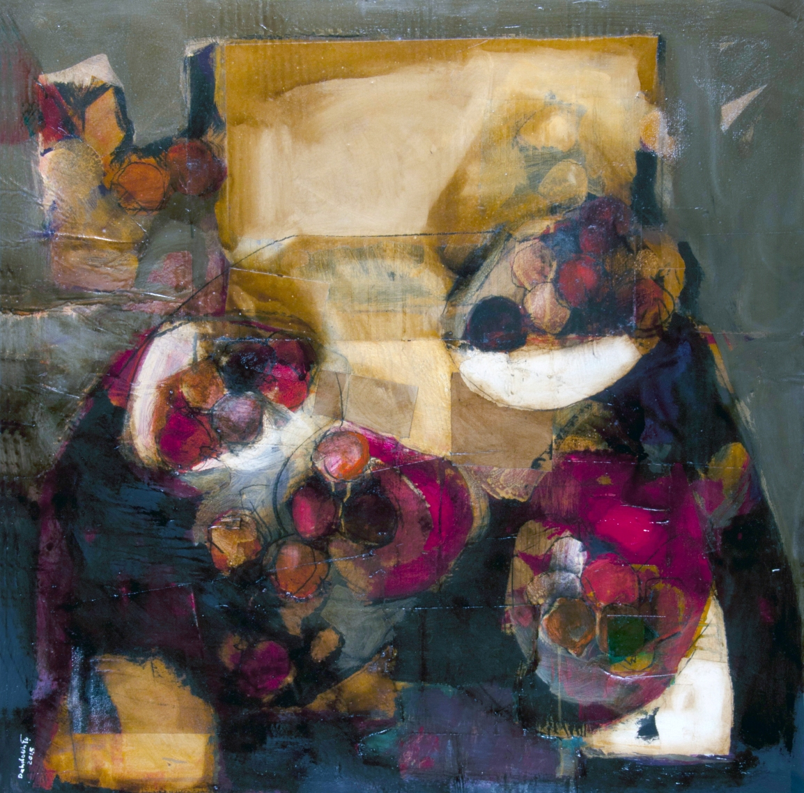 Dahdouh-Still Life-4-100X100cm-Mixed Media on canvas -2015